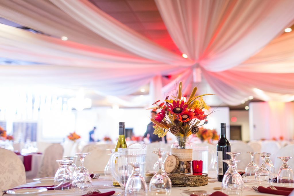 autumn colour themed wedding reception