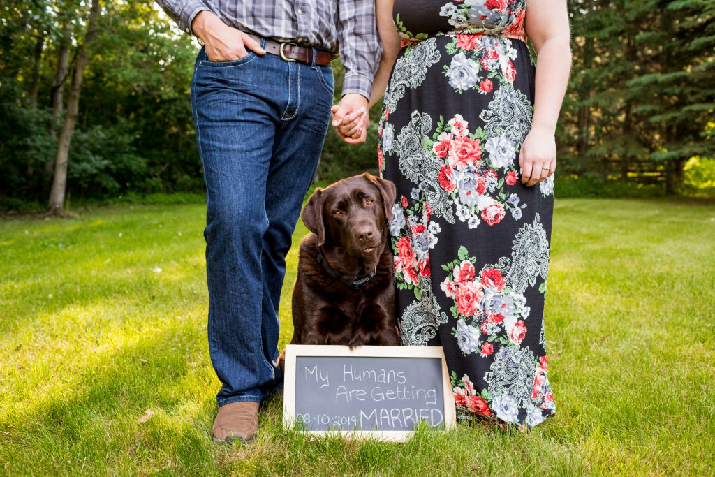 country engagement photo with dog