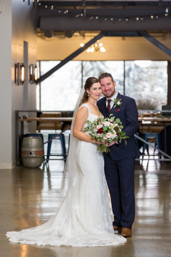 wedding portrait in brewery