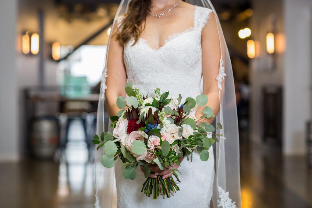 burgundy and cream wedding bouquet
