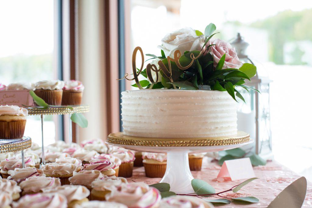 pink and blush wedding cake