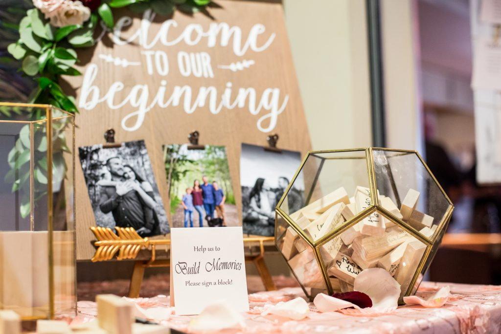 rustic wedding decor with photos