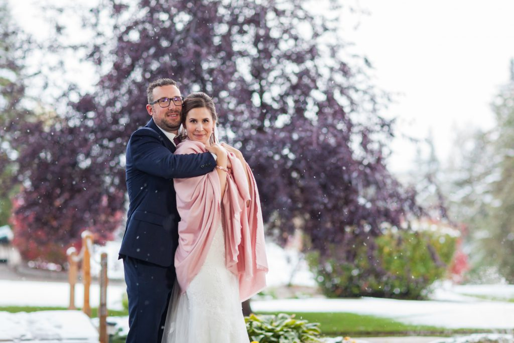 snowy wedding photos edmonton