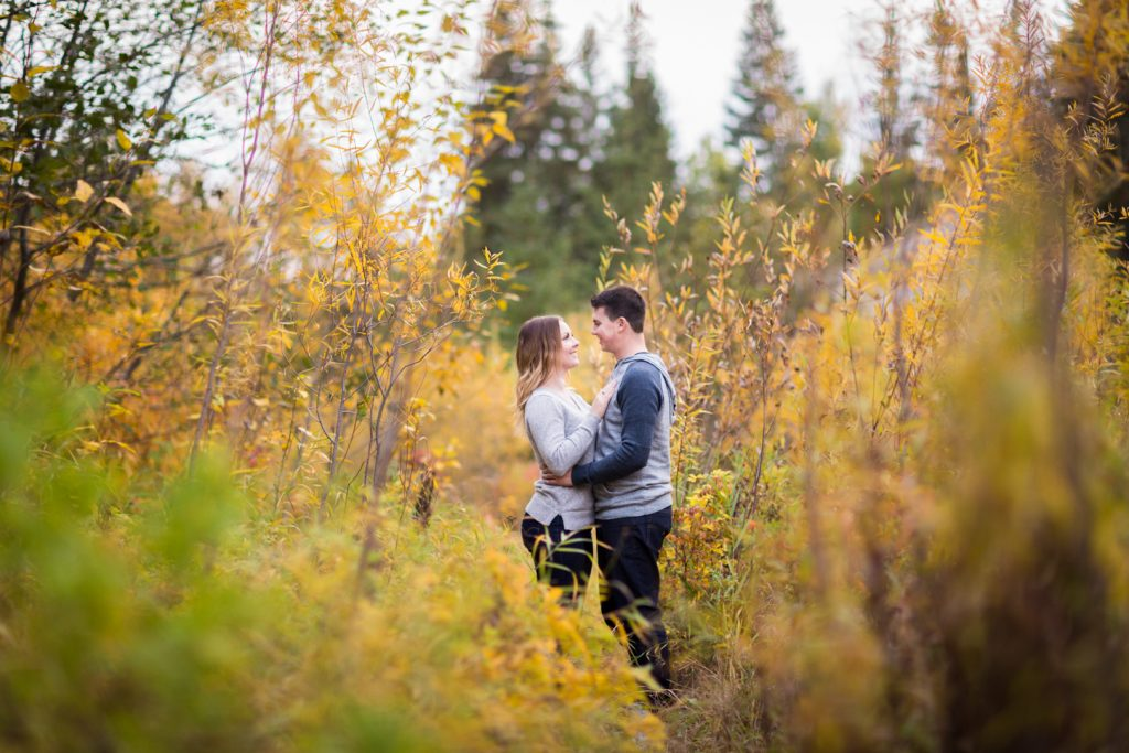 Casual engagement photos in Edmonton river valley