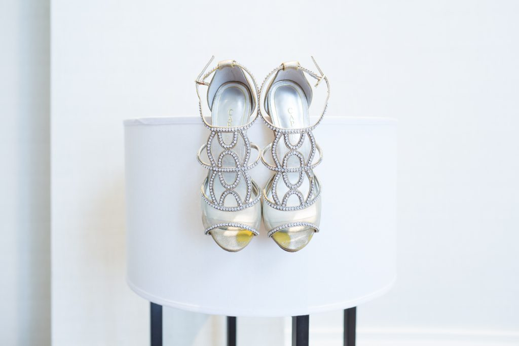 Strappy silver wedding shoes