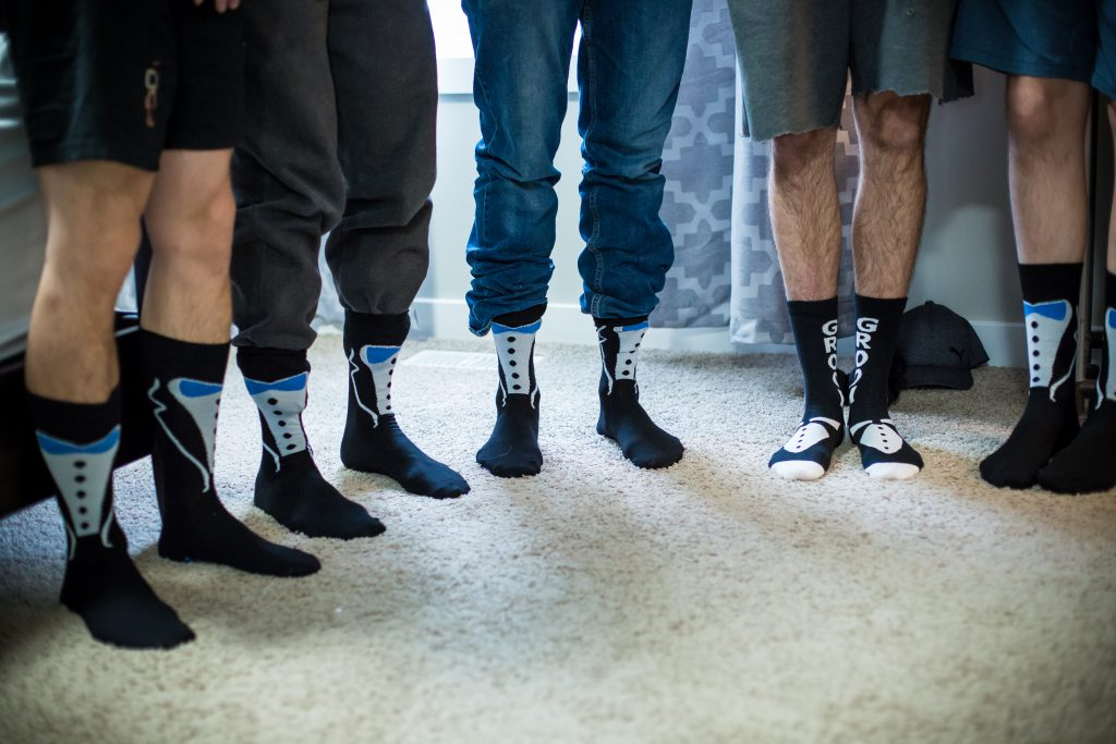 Groom and groomsmen tuxedo socks