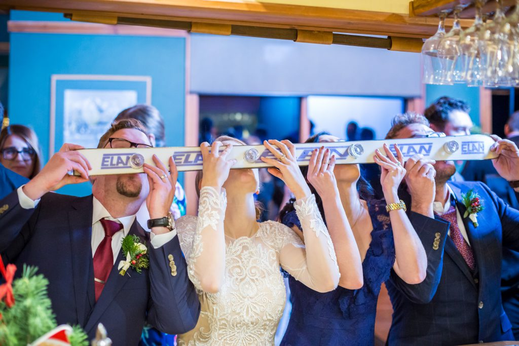 picture of shot ski at a wedding