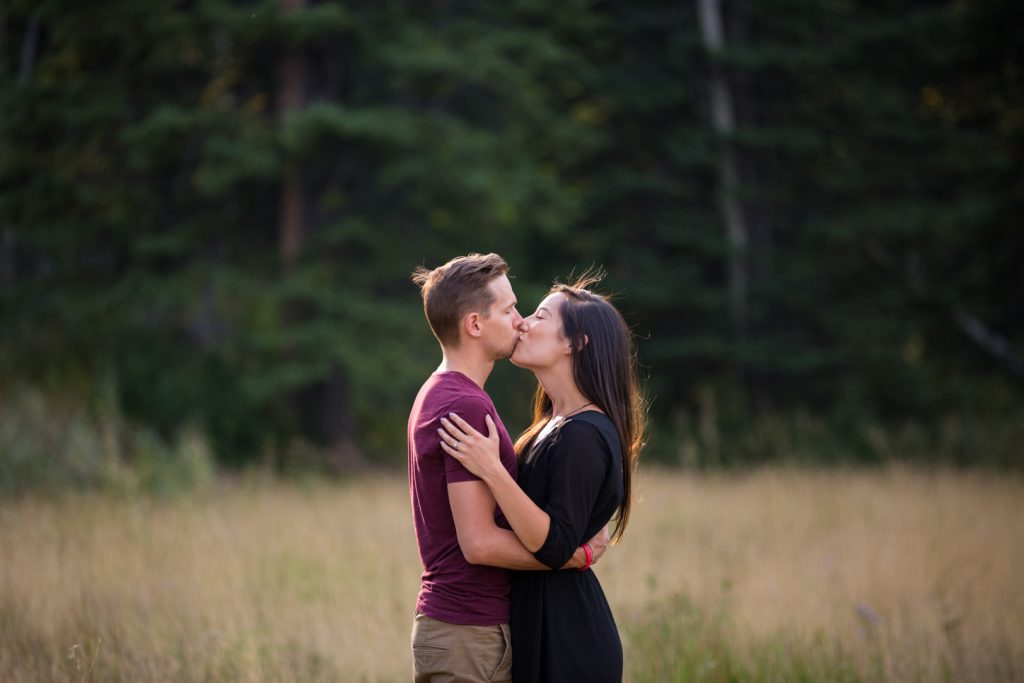 Canmore engagement pictures in the mountains
