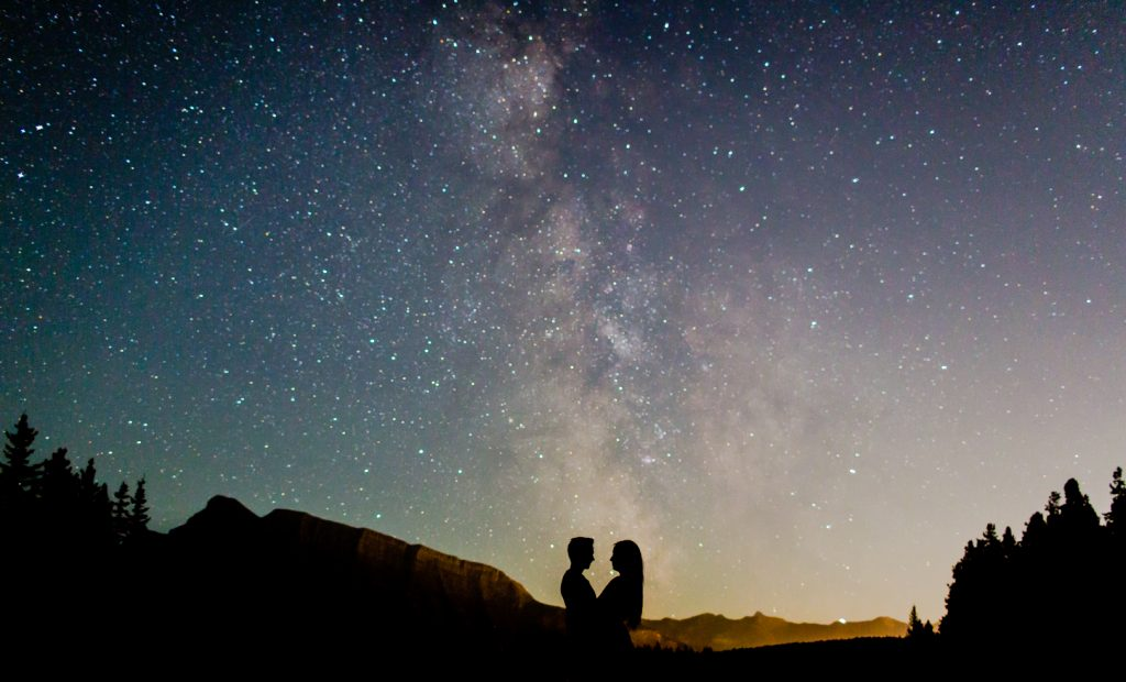 Banff mountain engagement photos with the Milky Way