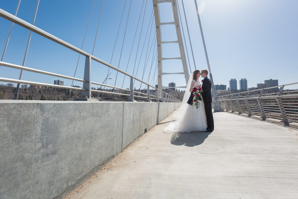 Wedding photos on Walterdale Bridge