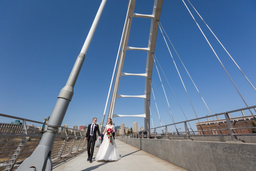 Walterdale bridge wedding portraits