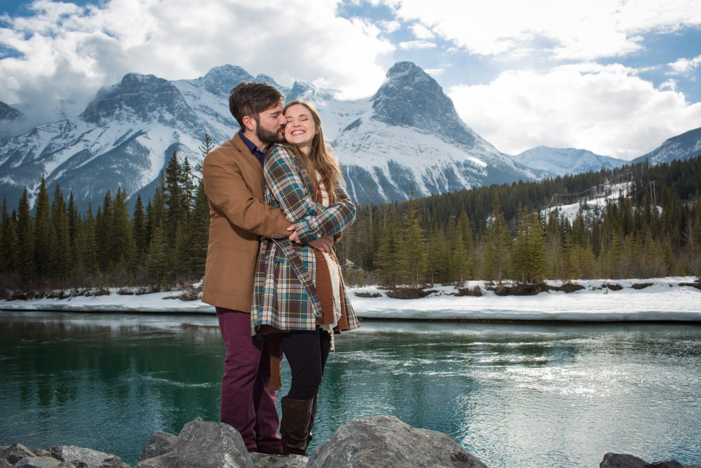 Casual mountain engagement photos in Canmore