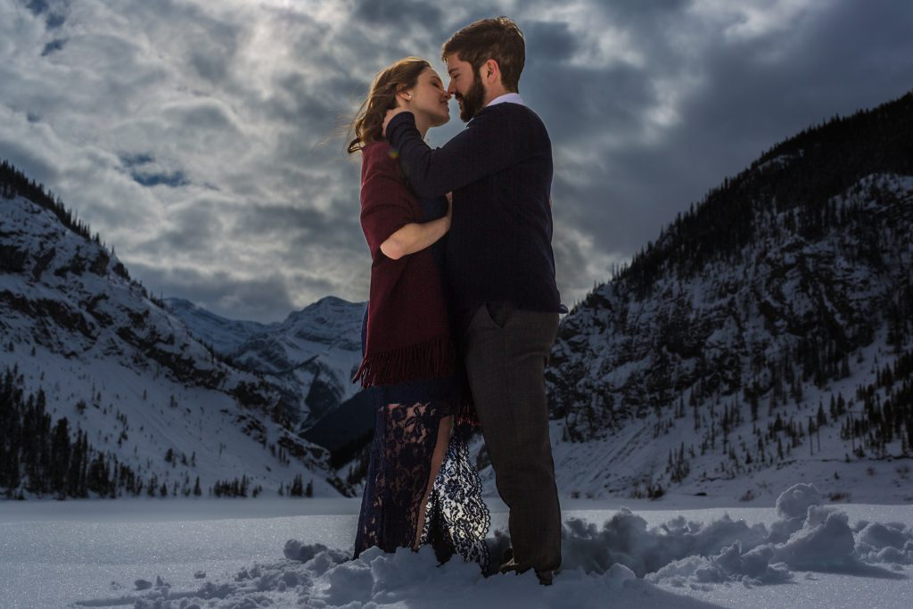 dramatic mountain engagement photos