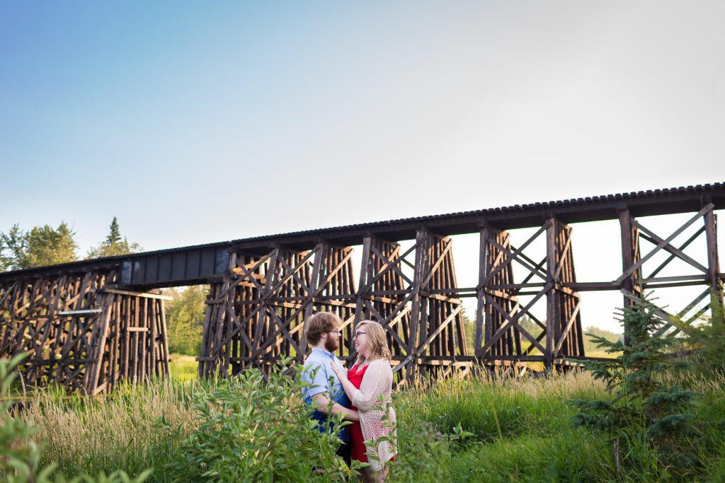 lions park bridge engagement photos