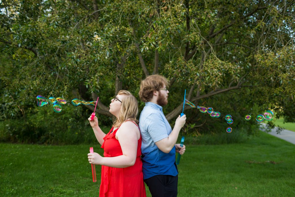 engagement photos with bubbles