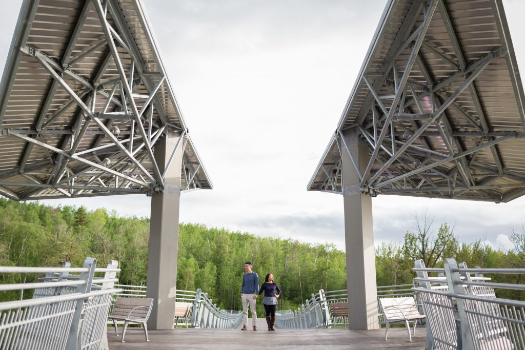 engagement photos on edmonton river valley bridge