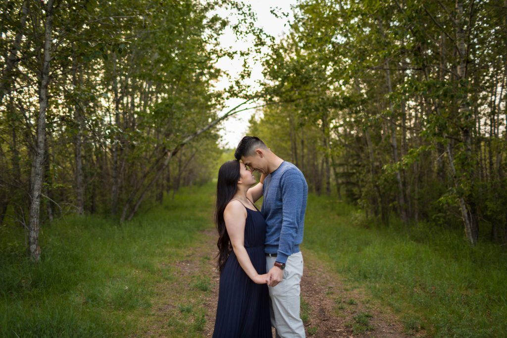 romantic engagement photo style