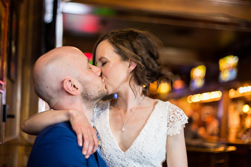 Bride and groom pub wedding photos