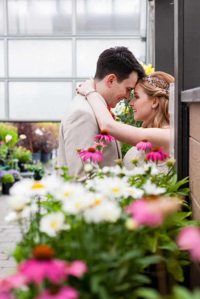 wedding photos in greenhouse