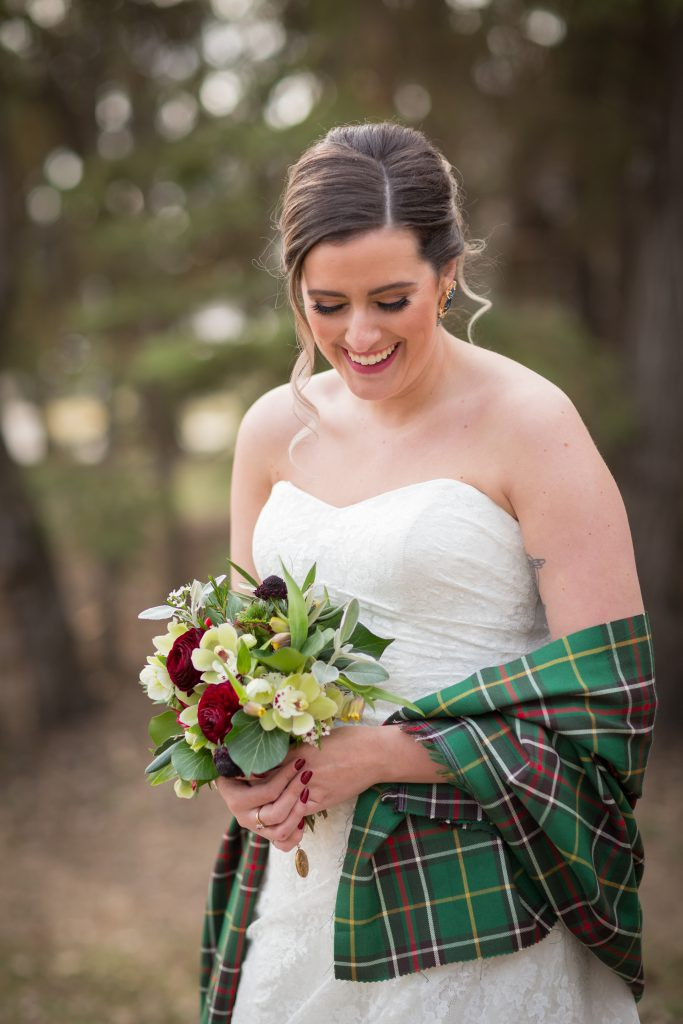 bride with tartan