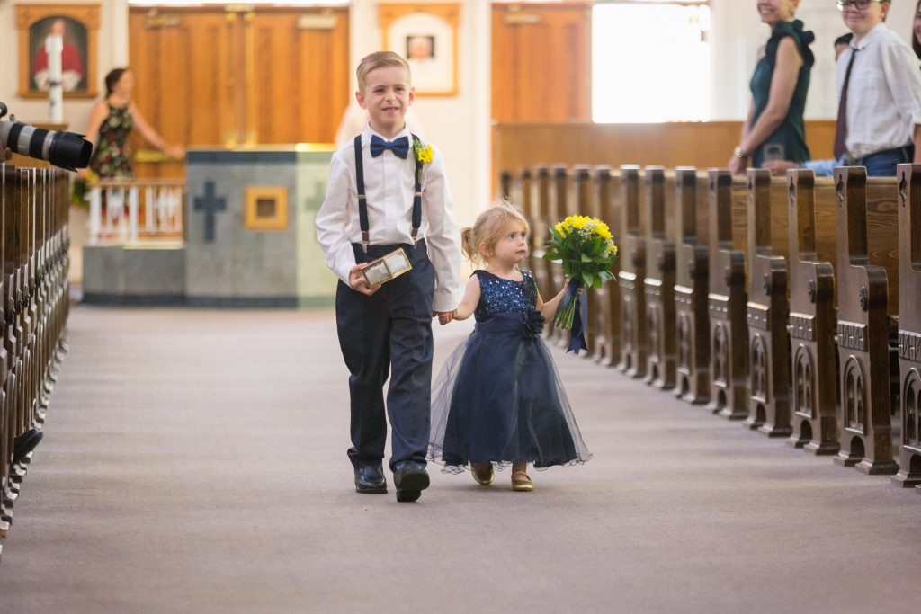 Ring Bearer and Flower Girl Navy and Yellow