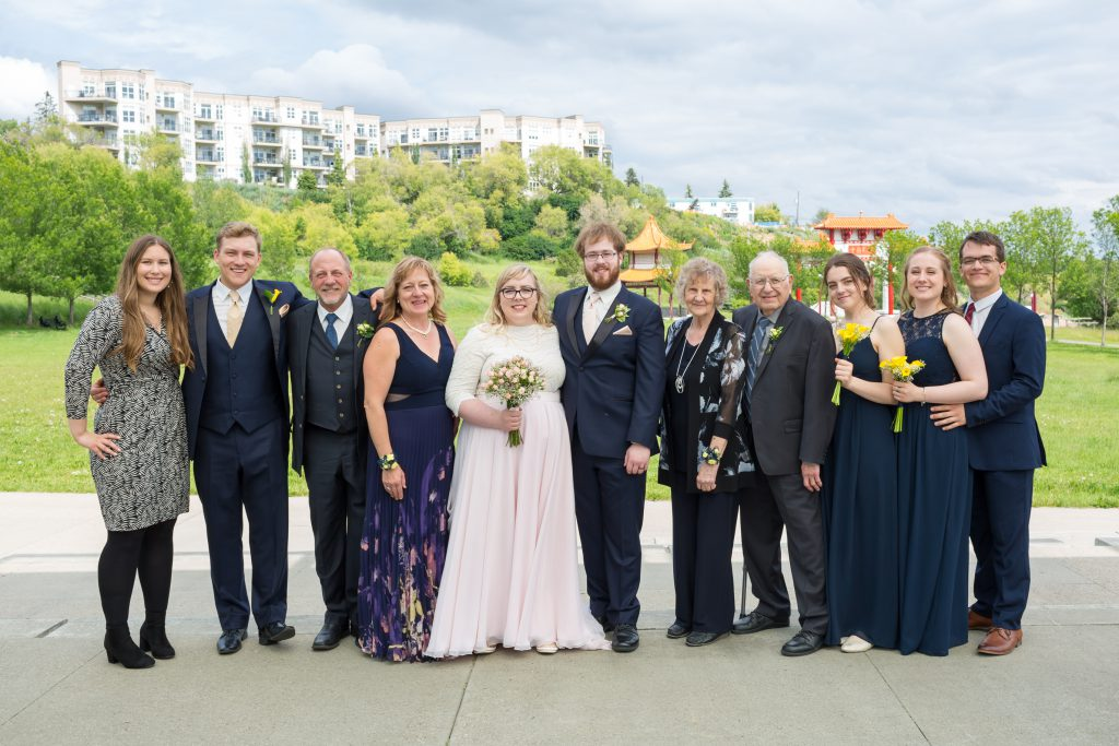 Large group family photo for wedding