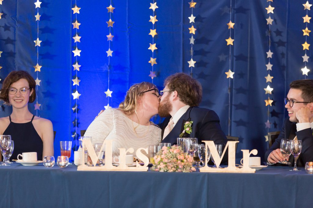 Wedding reception kissing game