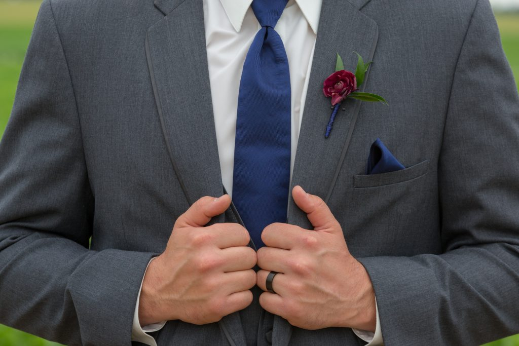 grey and burgundy wedding suit